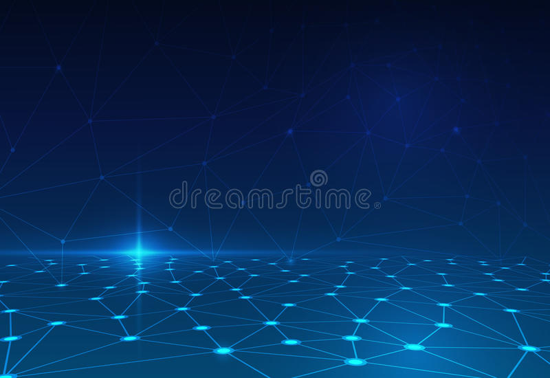 Αφηρημένο μόριο στο σκούρο μπλε υπόβαθρο δίκτυο για τη φουτουριστική έννοια τεχνολογίας διανυσματική απεικόνιση