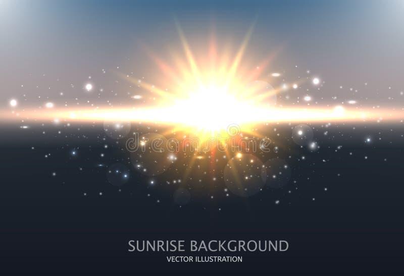 αφηρημένο να λάμψει ανασκόπ& Σχέδιο με την ανατολή, τον ουρανό, τον ήλιο και τη θολωμένη επίδραση επίσης corel σύρετε το διάνυσμα απεικόνιση αποθεμάτων