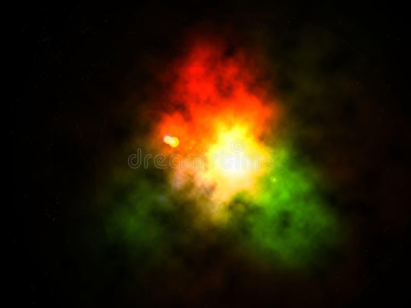 Αφηρημένο νεφέλωμα στο σκοτεινό διάστημα διανυσματική απεικόνιση
