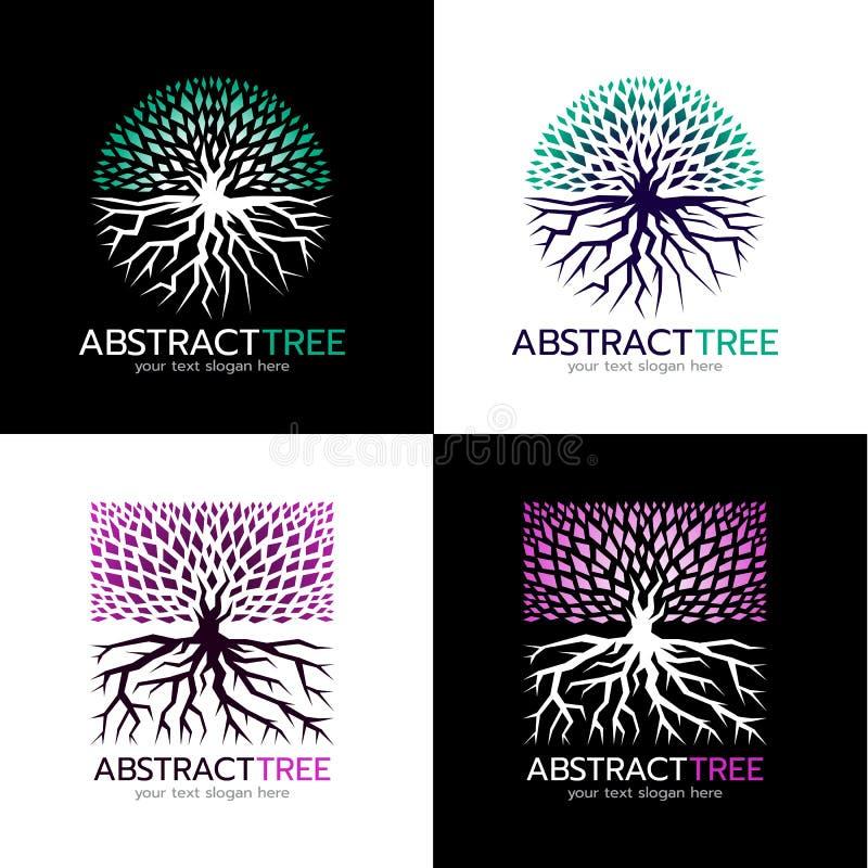 Αφηρημένο λογότυπο δέντρων κύκλων και τετραγωνικό αφηρημένο σχέδιο τέχνης λογότυπων δέντρων διανυσματικό ελεύθερη απεικόνιση δικαιώματος