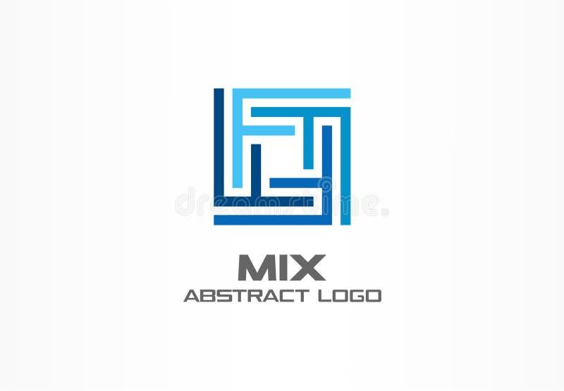 Αφηρημένο λογότυπο για την επιχειρησιακή επιχείρηση Βιομηχανία, χρηματοδότηση, ιδέα τραπεζών logotype Η τετραγωνική ομάδα, δίκτυο ελεύθερη απεικόνιση δικαιώματος
