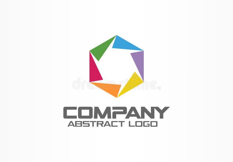 Αφηρημένο λογότυπο για την επιχειρησιακή επιχείρηση Εταιρικό στοιχείο σχεδίου ταυτότητας Διάφραγμα καμερών, παραθυρόφυλλο, εστίασ απεικόνιση αποθεμάτων