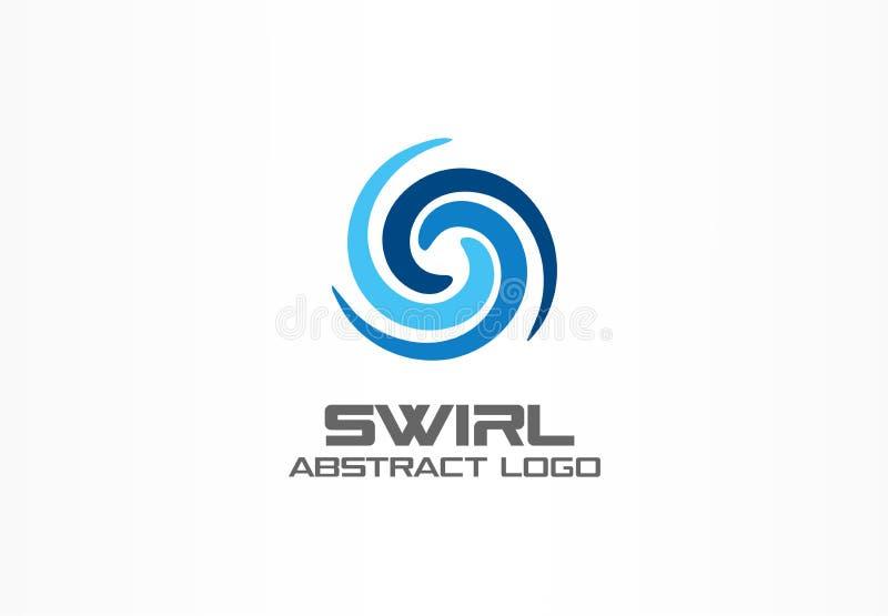 Αφηρημένο λογότυπο για την επιχειρησιακή επιχείρηση Eco, φύση, δίνη, SPA, ιδέα Logotype στροβίλου aqua Σπειροειδής, μπλε κύκλος ν ελεύθερη απεικόνιση δικαιώματος