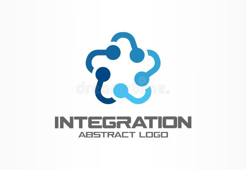 Αφηρημένο λογότυπο επιχειρησιακής επιχείρησης Τα κοινωνικά μέσα, Διαδίκτυο, άνθρωποι συνδέουν logotype την ιδέα Η ομάδα αστεριών, διανυσματική απεικόνιση
