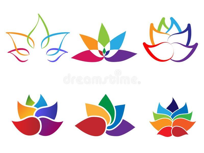 Αφηρημένο λογότυπο λουλουδιών λωτού ουράνιων τόξων διανυσματική απεικόνιση