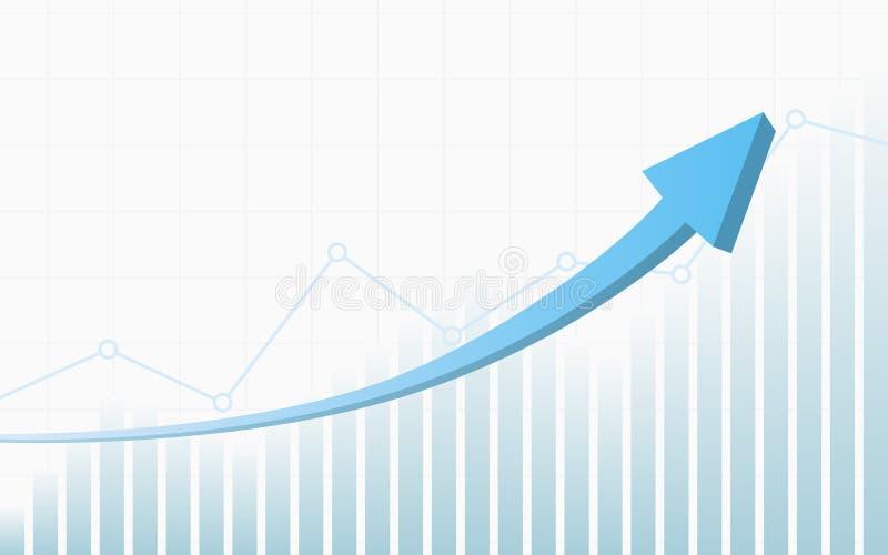 Αφηρημένο οικονομικό γράφημα με βέλος ανοδικής τάσης 3d μπλε χρώματος κ διανυσματική απεικόνιση