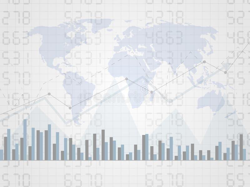 Αφηρημένο οικονομικό διάγραμμα με uptrend τη γραφική παράσταση γραμμών στον αριθμό και τον παγκόσμιο χάρτη Γραφική παράσταση ραβδ στοκ εικόνα