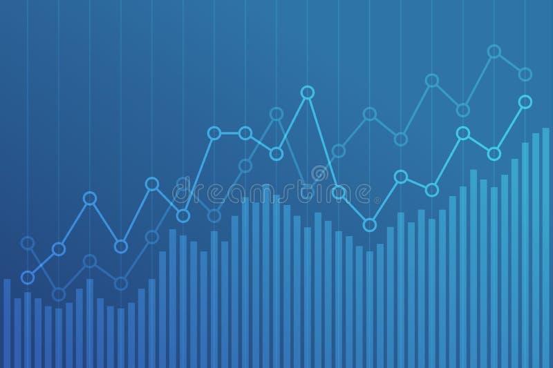 Αφηρημένο οικονομικό διάγραμμα με uptrend τη γραφική παράσταση γραμμών στο μπλε υπόβαθρο διανυσματική απεικόνιση