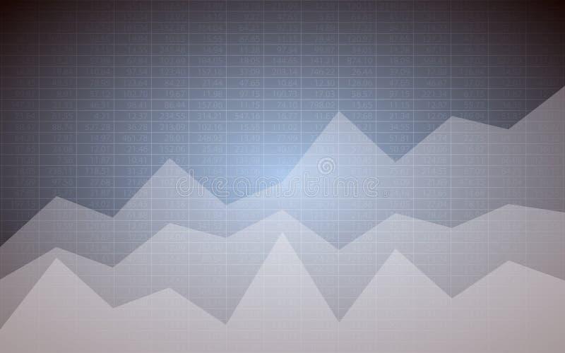 Αφηρημένο οικονομικό διάγραμμα με uptrend τους αριθμούς γραφικών παραστάσεων γραμμών και αποθεμάτων στο γκρίζο υπόβαθρο χρώματος διανυσματική απεικόνιση