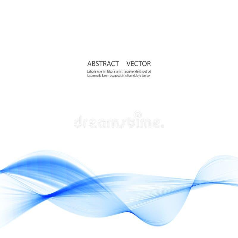Αφηρημένο ομαλό διάνυσμα κυμάτων χρώματος Μπλε απεικόνιση κινήσεων ροής καμπυλών Σχέδιο καπνού διανυσματική απεικόνιση