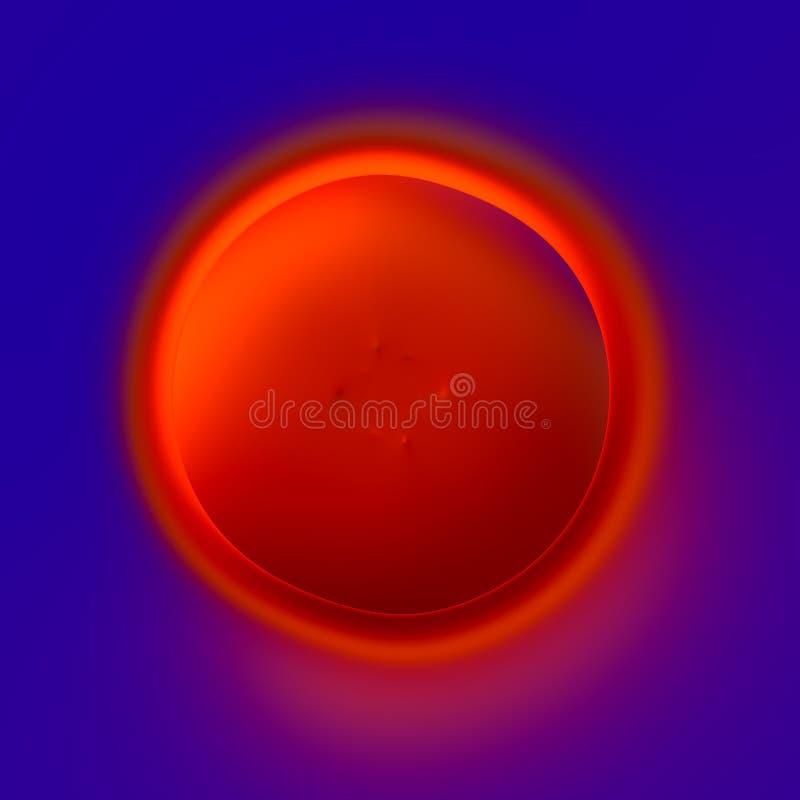 Αφηρημένο ομόκεντρο σχέδιο κύκλων - κρατήρας λάβας - φλογερή κόκκινη τρύπα στο μπλε υπόβαθρο - καλλιτεχνικός υπερφυσικός οργανισμ διανυσματική απεικόνιση