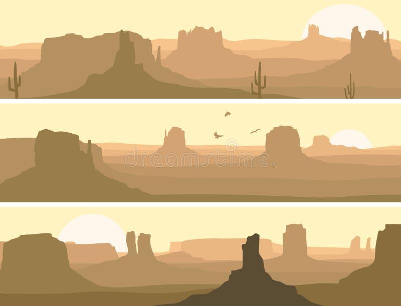 Αφηρημένο οριζόντιο έμβλημα της άγριας δύσης λιβαδιών. απεικόνιση αποθεμάτων