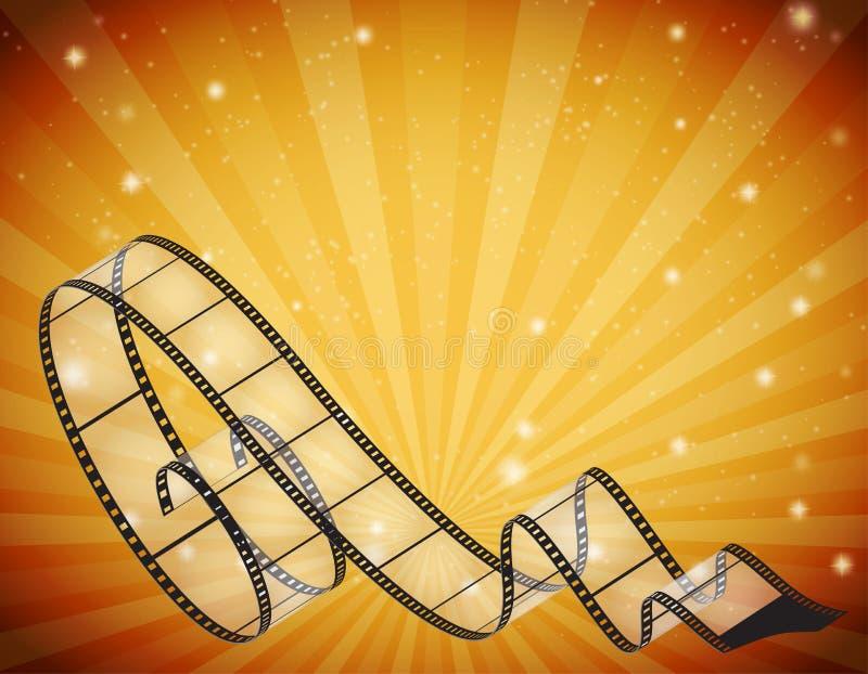 Αφηρημένο οριζόντιο υπόβαθρο με την αναδρομική λουρίδα ταινιών διανυσματική απεικόνιση