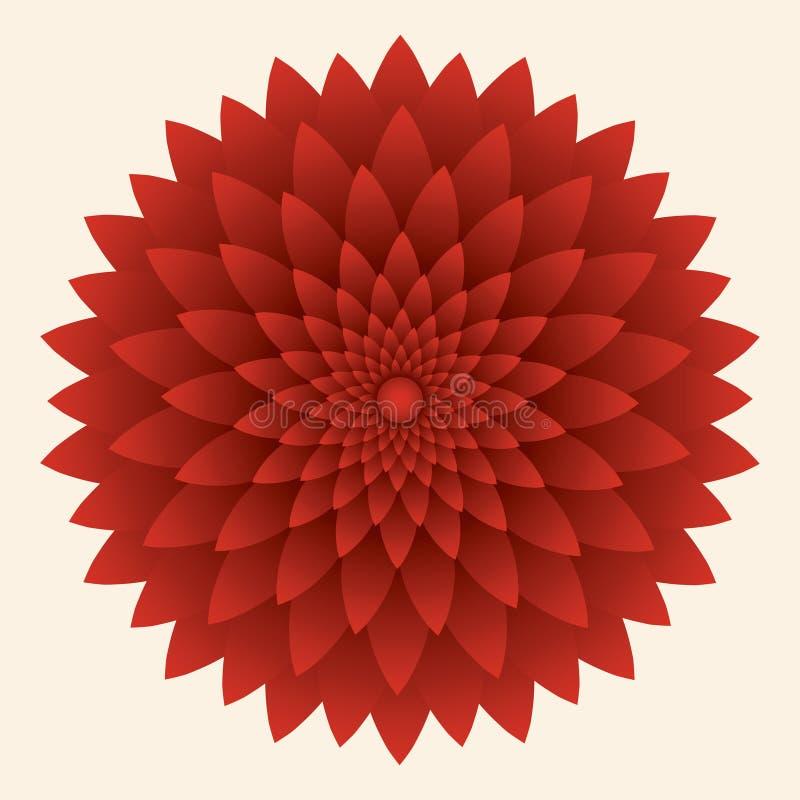 Αφηρημένο λουλούδι, κόκκινο χρυσάνθεμο επίσης corel σύρετε το διάνυσμα απεικόνισης διανυσματική απεικόνιση
