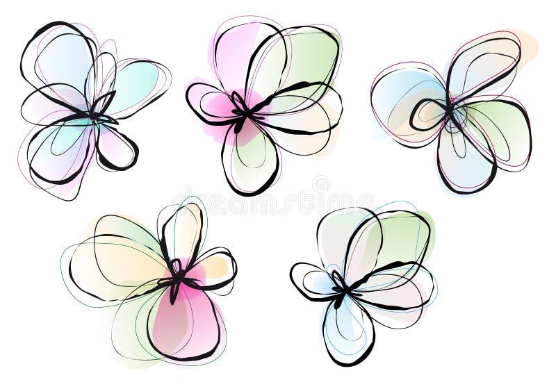 Αφηρημένα λουλούδια, διανυσματικό σύνολο ελεύθερη απεικόνιση δικαιώματος