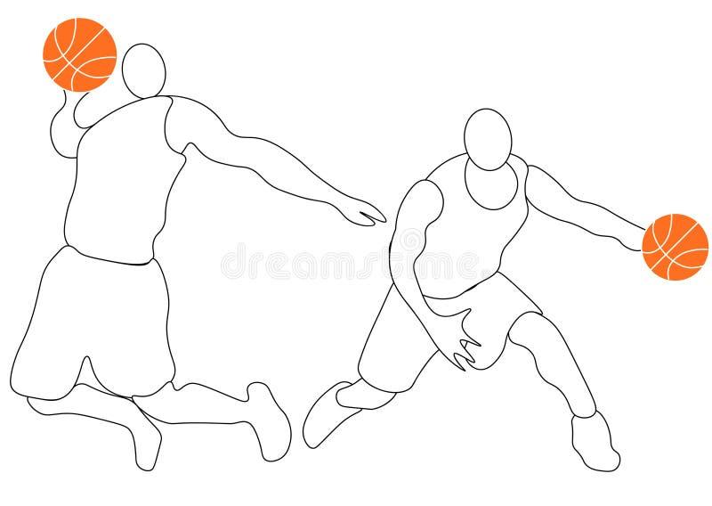 Αφηρημένο παίχτης μπάσκετ με τη σφαίρα από τον παφλασμό των watercolors r ελεύθερη απεικόνιση δικαιώματος