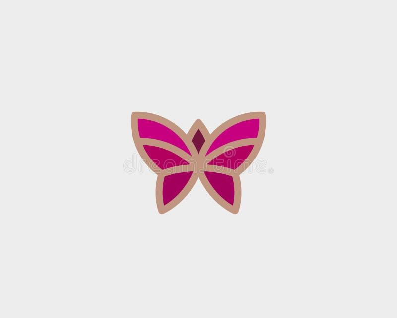 Αφηρημένο πεταλούδων σχέδιο λογότυπων λουλουδιών διανυσματικό Γραμμικό ελάχιστο ασφάλιστρο logotype διανυσματική απεικόνιση