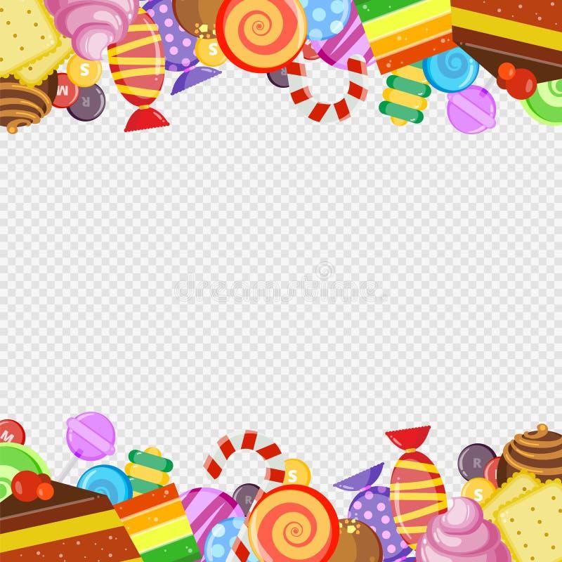 Αφηρημένο πλαίσιο με τα γλυκά Ζωηρόχρωμο γλυκό και juicy διάνυσμα μπισκότων και κέικ καραμελών καραμέλας και σοκολάτας lollipop ελεύθερη απεικόνιση δικαιώματος