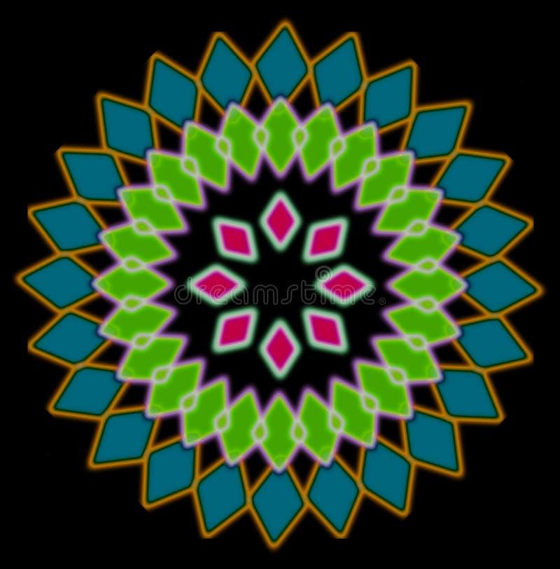 Αφηρημένο πολύχρωμο ακτινωτό σχέδιο, μαύρο υπόβαθρο διανυσματική απεικόνιση