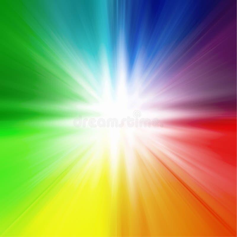 Αφηρημένο πολύχρωμο θολωμένο υπόβαθρο, χρώματα ουράνιων τόξων, σχέδιο, ελαφρύ κέντρο, γραφικές, άσπρες ακτίνες από το κέντρο, μπλ ελεύθερη απεικόνιση δικαιώματος