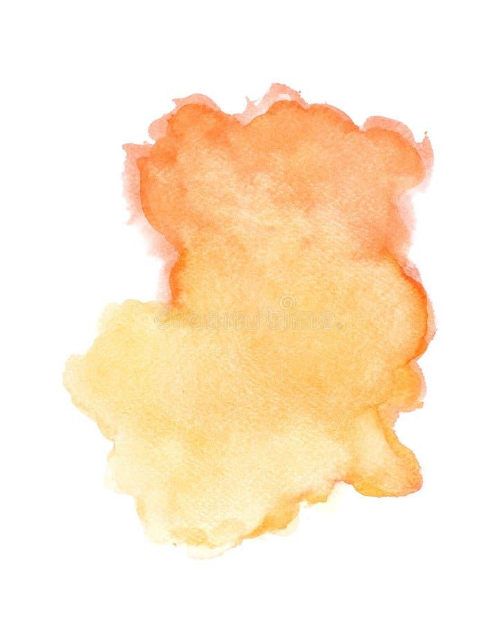 Αφηρημένο πορτοκαλί watercolor στο άσπρο υπόβαθρο, πορτοκαλί ράντισμα χρώματος σε χαρτί, στα εμβλήματα υποβάθρων σχεδίου και διακ ελεύθερη απεικόνιση δικαιώματος