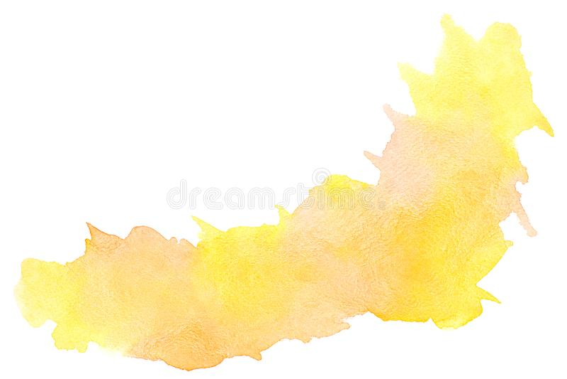 Αφηρημένο πορτοκαλί watercolor στο άσπρο υπόβαθρο, πορτοκαλί ράντισμα χρώματος σε χαρτί, στα εμβλήματα υποβάθρων σχεδίου και διακ διανυσματική απεικόνιση
