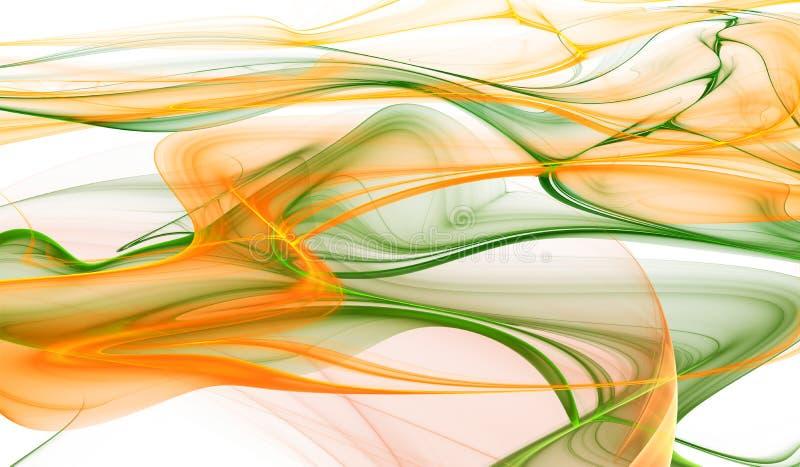 Αφηρημένο πορτοκαλί και πράσινο κυματιστό υπόβαθρο χρώματος διανυσματική απεικόνιση