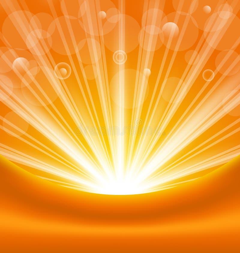 Αφηρημένο πορτοκαλί υπόβαθρο με τις ελαφριές ακτίνες ήλιων διανυσματική απεικόνιση
