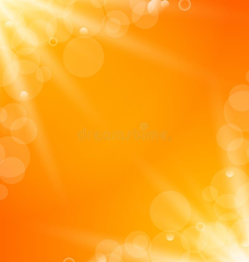 Αφηρημένο πορτοκαλί φωτεινό υπόβαθρο με τις ελαφριές ακτίνες ήλιων διανυσματική απεικόνιση