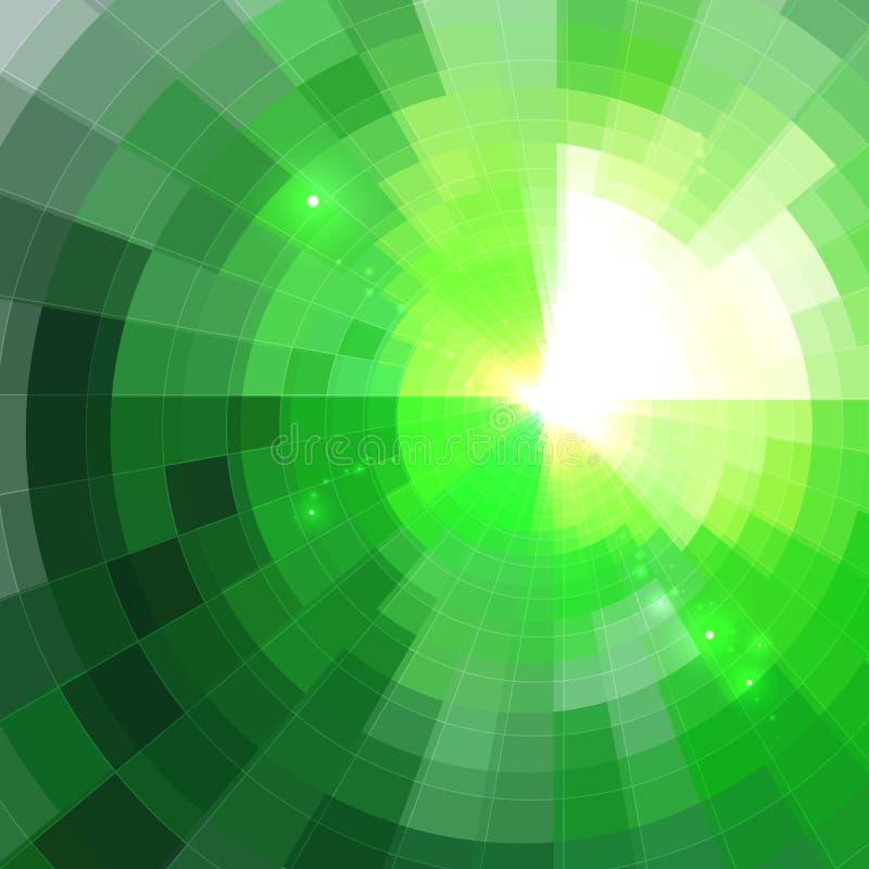 Αφηρημένο πράσινο λάμποντας υπόβαθρο σηράγγων κύκλων απεικόνιση αποθεμάτων