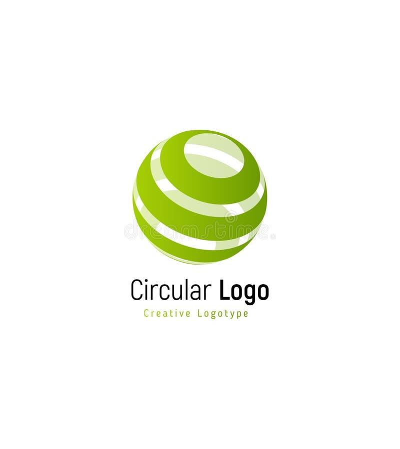 Αφηρημένο πράσινο δασικό σημάδι Γδυμένο περίληψη διανυσματικό πρότυπο λογότυπων, στρογγυλό απλό logotype στροβίλου διανυσματική απεικόνιση