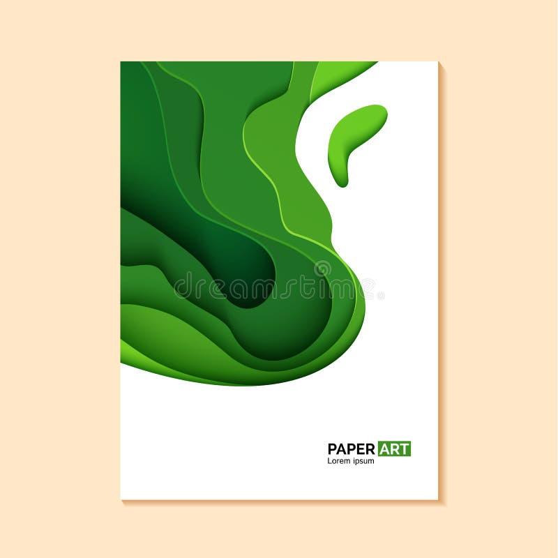 Αφηρημένο πράσινο ιπτάμενο στο κομμένο ύφος εγγράφου Πρότυπο κυμάτων χλόης διακοπής για εκτός από τις γήινες αφίσες, φυλλάδια οικ ελεύθερη απεικόνιση δικαιώματος