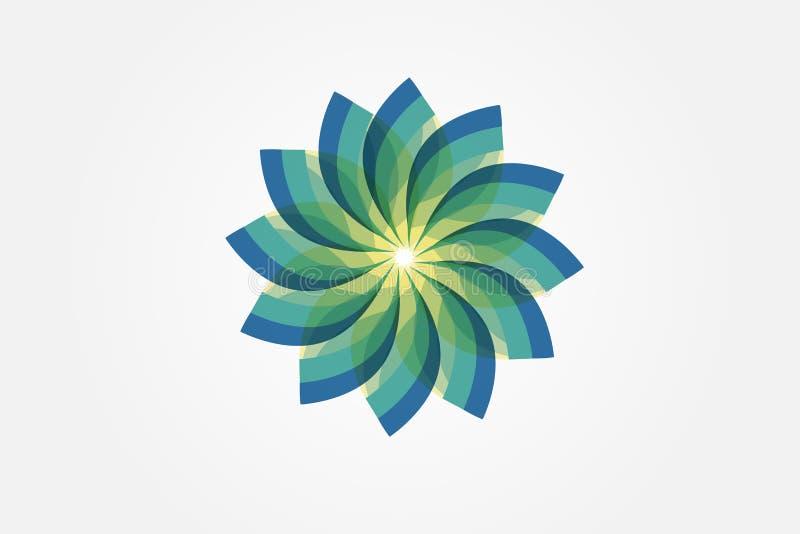 Αφηρημένο πράσινο λουλουδιών σχέδιο εικόνας λογότυπων διανυσματικό απεικόνιση αποθεμάτων