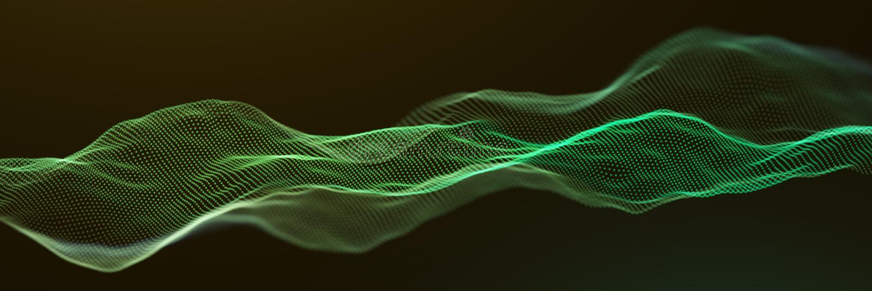 Αφηρημένο πράσινο υπόβαθρο επιφάνειας κυμάτων μορίων διανυσματική απεικόνιση