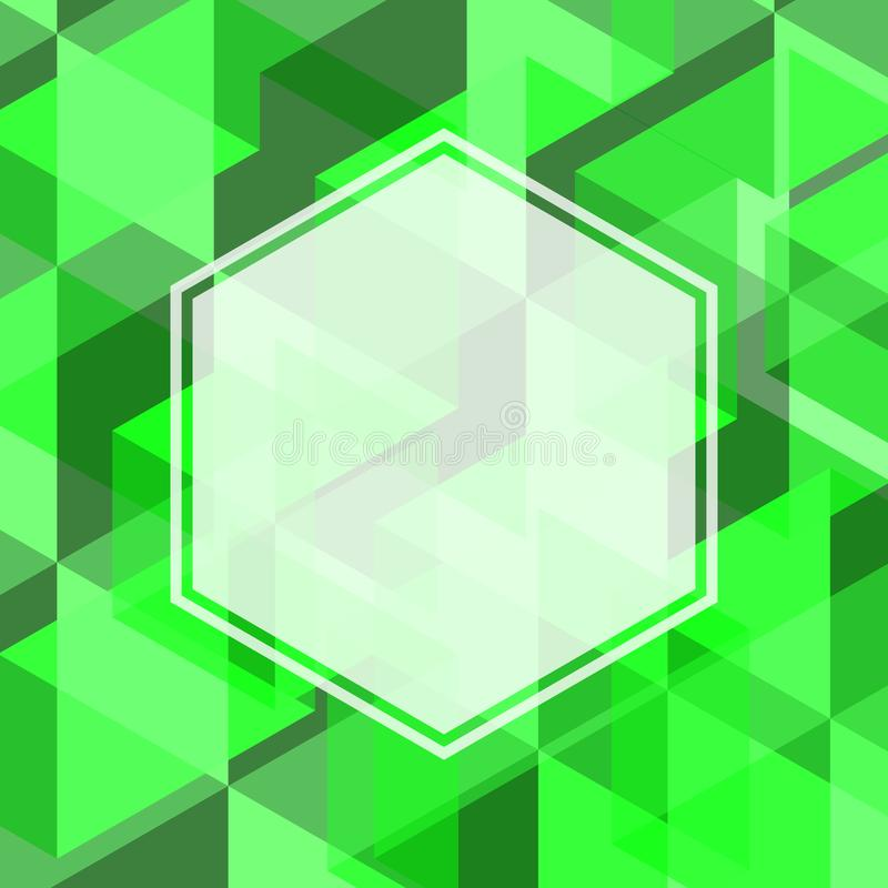 Αφηρημένο πράσινο χρώμα της γεωμετρικής μορφής με το κενό διάστημα του μορίου ελεύθερη απεικόνιση δικαιώματος