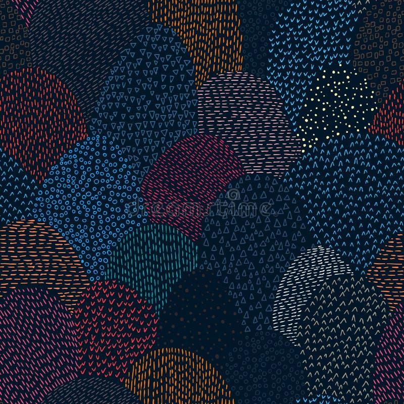 αφηρημένο πρότυπο άνευ ραφής Απλά γεωμετρικά στοιχεία που σύρονται από το εκτάριο απεικόνιση αποθεμάτων