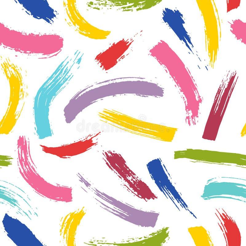 αφηρημένο πρότυπο άνευ ραφή&sig Ζωηρόχρωμα κτυπήματα βουρτσών του χρωματισμένου χρώματος διανυσματική απεικόνιση