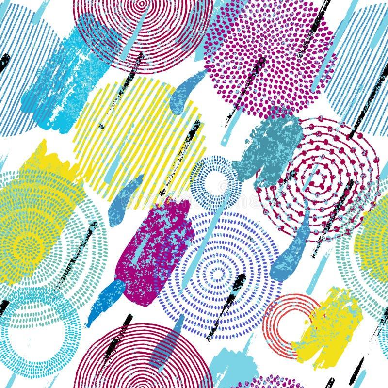αφηρημένο πρότυπο άνευ ραφή&sig Κτυπήματα μελανιού, χρώμα, watercolor, expre ελεύθερη απεικόνιση δικαιώματος