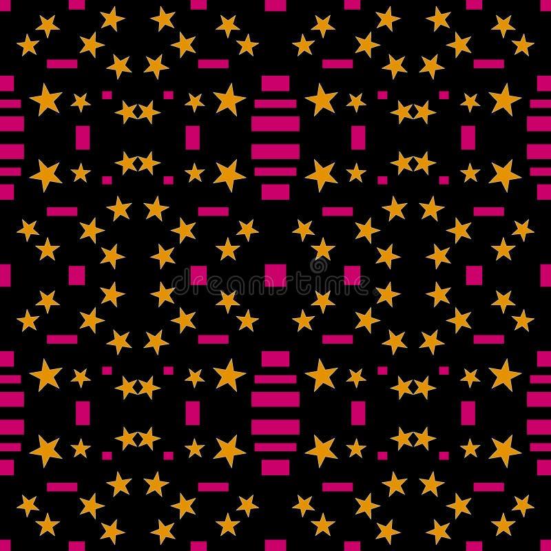 αφηρημένο πρότυπο άνευ ραφή&sig Πορτοκαλιά αστέρια, ρόδινα ορθογώνια, ελεύθερη απεικόνιση δικαιώματος