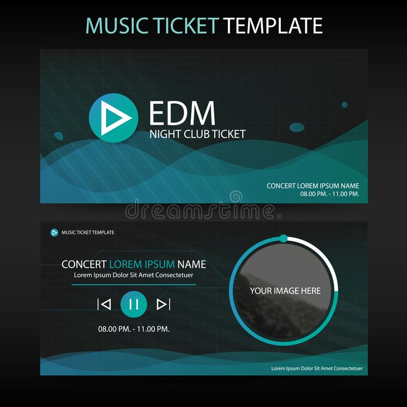 Αφηρημένο πρότυπο εισιτηρίων μουσικής κυμάτων κύκλων πράσινο για τη συναυλία ελεύθερη απεικόνιση δικαιώματος