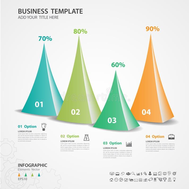 Αφηρημένο πρότυπο επιλογών αριθμού infographics, διανυσματική απεικόνιση, τρισδιάστατο εικονίδιο τριγώνων πυραμίδων, παρουσίαση,  απεικόνιση αποθεμάτων