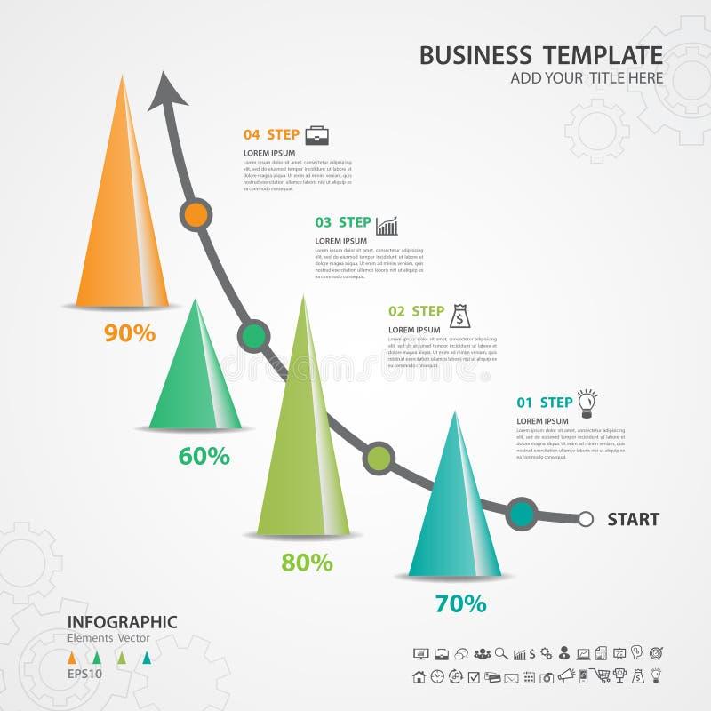 Αφηρημένο πρότυπο επιλογών αριθμού infographics, διανυσματική απεικόνιση, τρισδιάστατο εικονίδιο τριγώνων πυραμίδων, παρουσίαση,  διανυσματική απεικόνιση