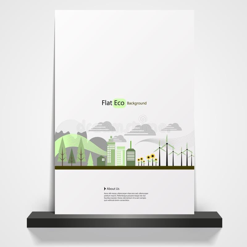 Αφηρημένο πρότυπο ιπτάμενων θέματος Eco ελεύθερη απεικόνιση δικαιώματος