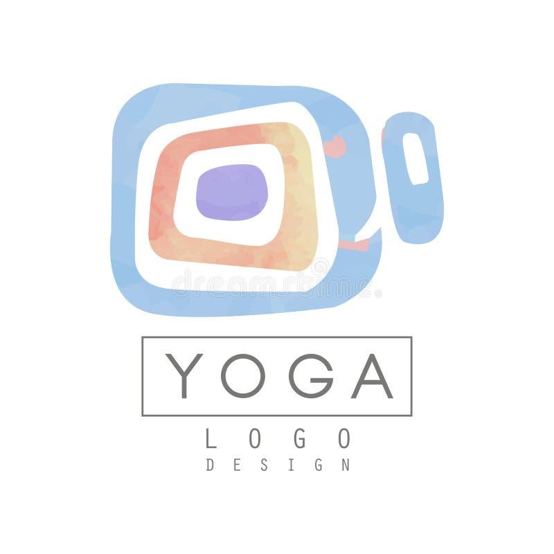 Αφηρημένο πρότυπο λογότυπων για το στούντιο γιόγκας ή το κέντρο περισυλλογής υψηλό watercolor ποιοτικής ανίχνευσης ζωγραφικής διο ελεύθερη απεικόνιση δικαιώματος