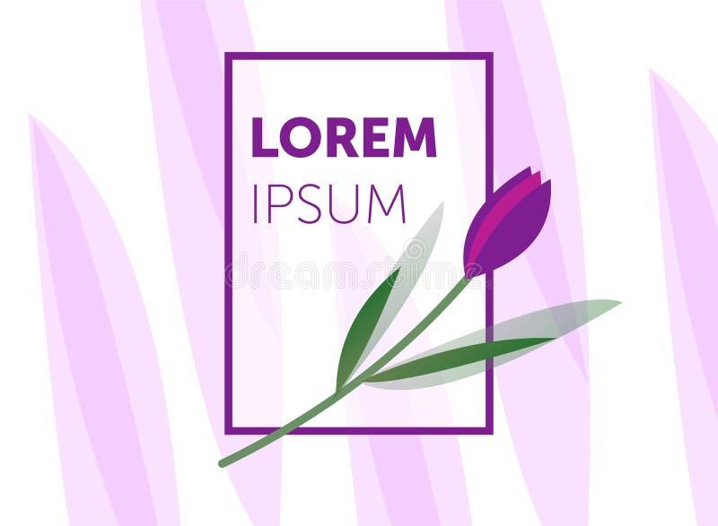 Αφηρημένο πρότυπο με τα floral στοιχεία Έμβλημα, αφίσα, πρότυπο σχεδίου κάλυψης, με τα φύλλα και τα λουλούδια ελεύθερη απεικόνιση δικαιώματος