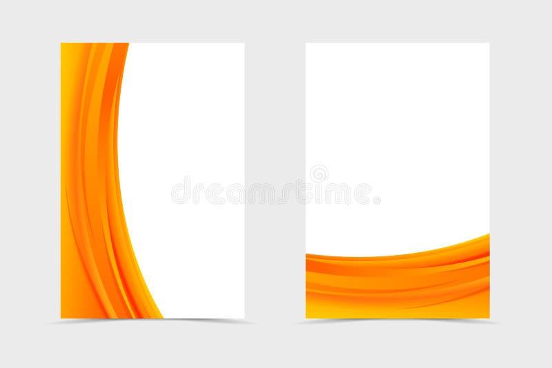 Μπροστινό και πίσω κυματιστό σχέδιο προτύπων ιπτάμενων Αφηρημένο πρότυπο με τις πορτοκαλιές γραμμές στο δυναμικό φωτεινό ύφος r απεικόνιση αποθεμάτων