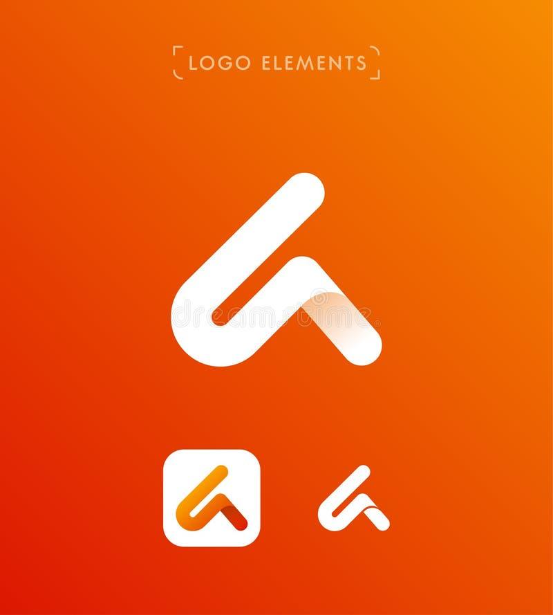 Αφηρημένο πρότυπο λογότυπων ύφους origami γραμμάτων Α τριγώνων applicat διανυσματική απεικόνιση