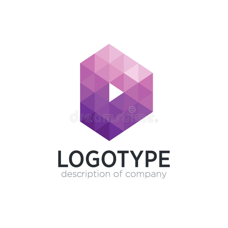 Αφηρημένο πρότυπο σχεδίου λογότυπων Δ επιστολών πολυγώνων τάσης στοκ εικόνα με δικαίωμα ελεύθερης χρήσης
