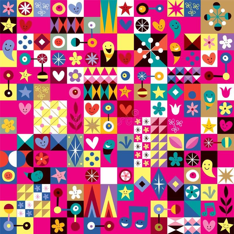 Αφηρημένο πρότυπο τέχνης καρδιών, αστεριών και λουλουδιών διανυσματική απεικόνιση