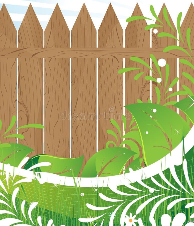 Αφηρημένο πρότυπο φύλλων και αγροτική φραγή διανυσματική απεικόνιση